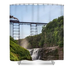 Shower Curtain featuring the photograph 765 Over Upper Falls by Mark Papke