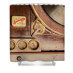 Shower Curtain featuring the photograph 78 Rpm And Accessories by Gary Slawsky