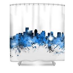Boston Massachusetts Skyline Shower Curtain by Michael Tompsett