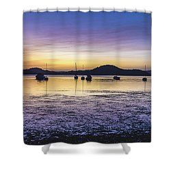 Dawn Waterscape Over The Bay With Boats Shower Curtain