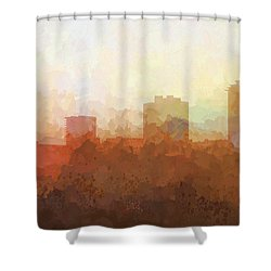Shower Curtain featuring the digital art New Orleans Louisiana Skyline by Marlene Watson