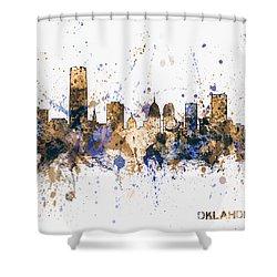 Shower Curtain featuring the digital art Oklahoma City Skyline by Michael Tompsett