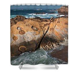 Point Lobos Concretions Shower Curtain by Glenn Franco Simmons