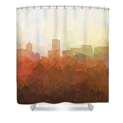 Shower Curtain featuring the digital art Portland Oregon Skyline by Marlene Watson