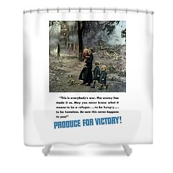 Produce For Victory Shower Curtain by War Is Hell Store
