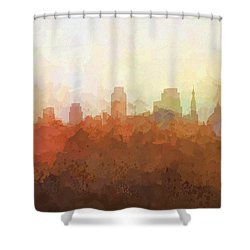Shower Curtain featuring the digital art Sacramento California Skyline by Marlene Watson