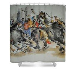 Siena And Their Palio Album Shower Curtain by Debbi Saccomanno Chan