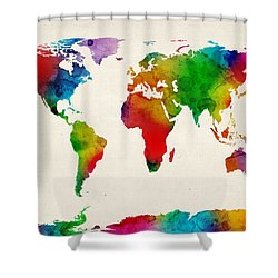 Watercolor Map Of The World Map Shower Curtain by Michael Tompsett