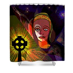 Shower Curtain featuring the digital art 863 - A Celtic Cross by Irmgard Schoendorf Welch