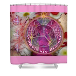 #8913_444 Angels Are Present  Shower Curtain by Barbara Tristan