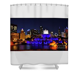 Shower Curtain featuring the photograph 911 Tribute At Buckingham Fountain, Chicago by Zawhaus Photography