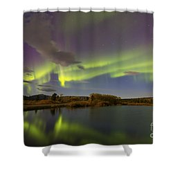 Aurora Borealis With Moonlight At Fish Shower Curtain by Joseph Bradley