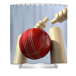 Cricket Ball Hitting Wickets Shower Curtain by Allan Swart