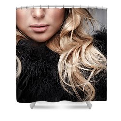 Fashion Woman Portrait Shower Curtain