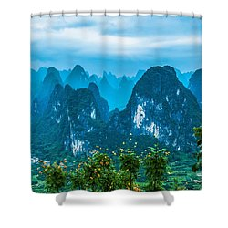 Karst Mountains Landscape Shower Curtain