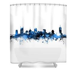 Nashville Tennessee Skyline Shower Curtain by Michael Tompsett