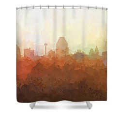 Shower Curtain featuring the digital art San Antonio Texas Skyline by Marlene Watson