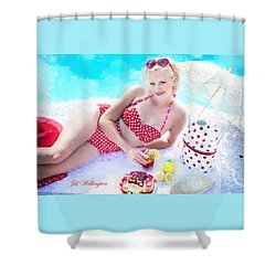 Vintage Val Poolside Shower Curtain