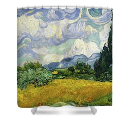 Shower Curtain featuring the painting Wheat Field With Cypresses by Vincent van Gogh