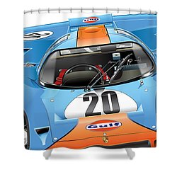 Porsche 917 Illustration Shower Curtain by Alain Jamar