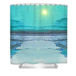 - 938 - Abstract Seascape - 2017  Shower Curtain