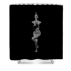 9486-dja Yoga Woman Illuminated In Stripes Zebra Black White Absraction Photograph By Chris Maher Shower Curtain