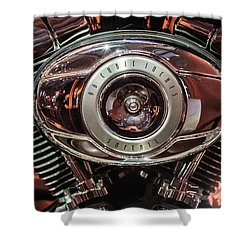 96 Cubic Inches Softail Shower Curtain by Randy Scherkenbach