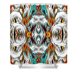 Shower Curtain featuring the digital art 992.042212mirror2ornategold-1-a by Kris Haas