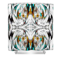 Shower Curtain featuring the digital art 992.042212mirror2ornategoldablue-1 by Kris Haas