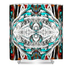 Shower Curtain featuring the digital art 992.042212mirror2ornateredablue-1 by Kris Haas