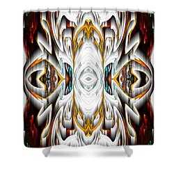 Shower Curtain featuring the digital art 992.042212mirror2ornateredagold-1a-1 by Kris Haas