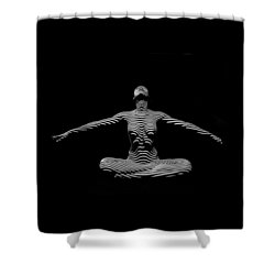9928-dja Zebra Striped Woman Lotus Arms Out Abstract Black And White By Chris Maher Shower Curtain