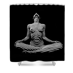 9934-dja Lotus Position In Zebra Stripes  Shower Curtain
