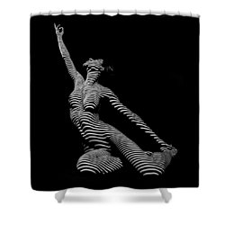 9970-dja Zebra Striped Yoga Reaching Sensual Lines Black White Photograph Abstract By Chris Mahert Shower Curtain
