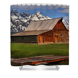 A Barn In The Tetons Shower Curtain by Adam Jewell