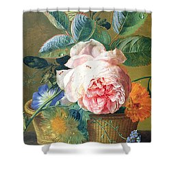 A Basket With Flowers Shower Curtain by Jan van Huysum