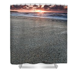 A Beach During Sunset With Glowing Sky Shower Curtain by Ulrich Schade