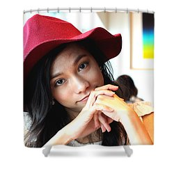 A Beautiful Asian Girl Is Staring At You Shower Curtain