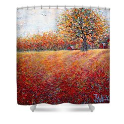 Shower Curtain featuring the painting A Beautiful Autumn Day by Natalie Holland