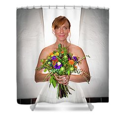 A Beautiful Backlit Bride And Her Bouquet Shower Curtain