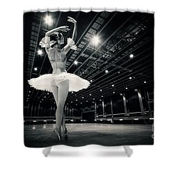 Shower Curtain featuring the photograph A Beautiful Ballerina Dancing In Studio by Dimitar Hristov