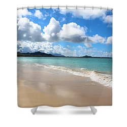 A Beautiful Day At Kailua Beach Hawaii Shower Curtain by Kerri Ligatich