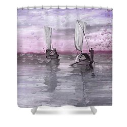 A Beautiful Morning For Fishing Shower Curtain by Angela A Stanton