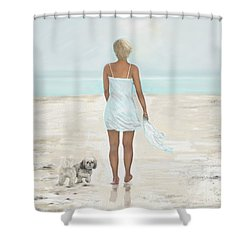 Shower Curtain featuring the painting A Beautiful Walk by Leslie Allen
