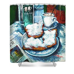 A Beignet Morning Shower Curtain