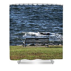 Shower Curtain featuring the photograph A Bench By The Sea by Tom Prendergast