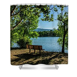 A Bench Overlooking Vasona Lake Shower Curtain