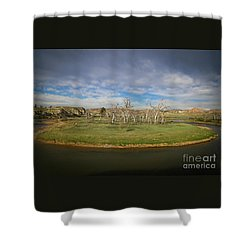 A Bend In The River Shower Curtain by Shevin Childers