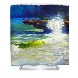 A Big Wave Shower Curtain