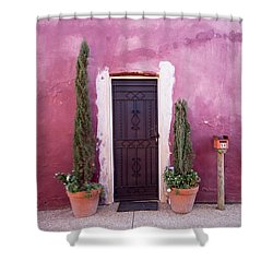 Shower Curtain featuring the photograph A Bit Of Brightness Down The Lane by Linda Lees